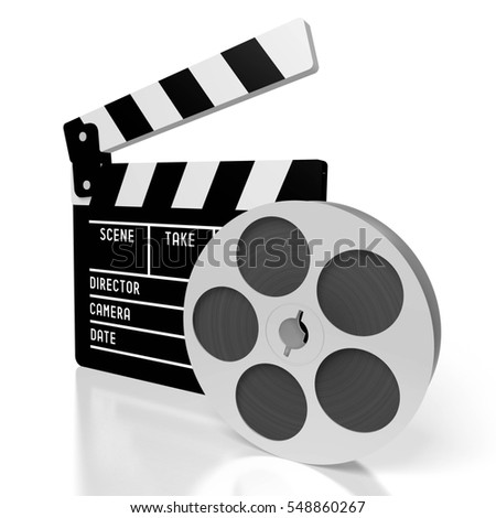 3D illustration/ 3D rendering - clapperboard, movie tape - great for topics like film industry, making movies, movie theater/ cinema etc.