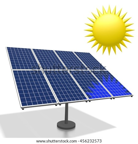 3D illustration/ 3D rendering - sun, solar energy concept.