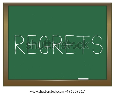 3d Illustration depicting a green chalkboard with a regrets concept.