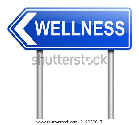3d Illustration depicting a sign with a wellness concept.