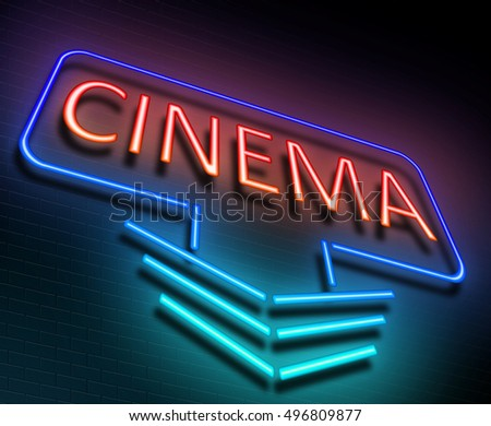 3d Illustration depicting an illuminated neon sign with a cinema concept.