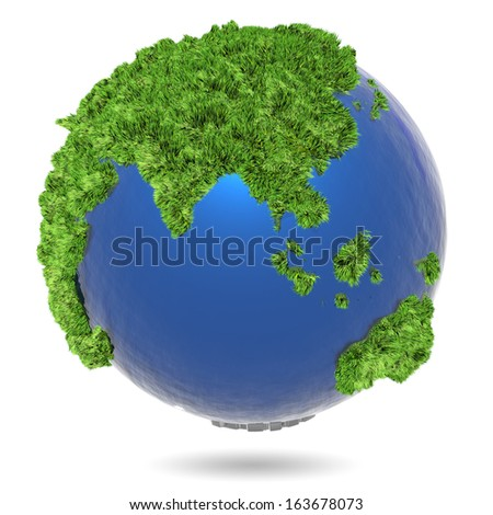 3d illustration, green herb  on blue globe