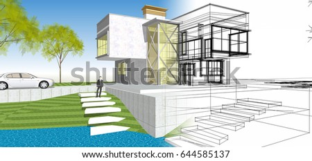 Modern House Section Visible Infrastructure Interior Stock