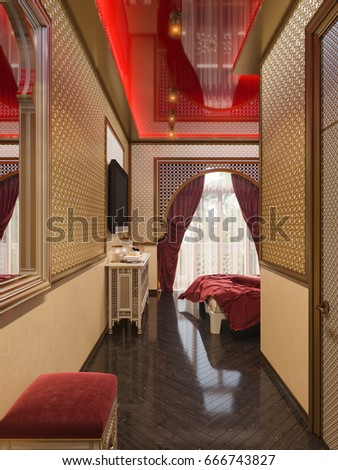 3d illustration  interior design of a hotel room in a traditional Islamic  style  Beautiful. 3d Illustration Interior Design Hotel Room Stock Illustration
