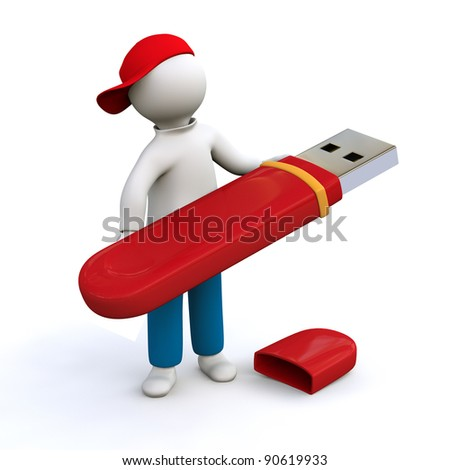 3D Illustration, man holding red memory stick