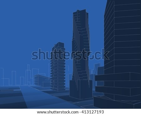 3D illustration, megalopolis, abstract architecture