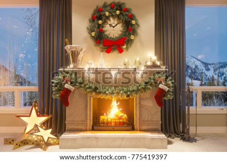 3d Rendering New Year Interior Christmas Stock