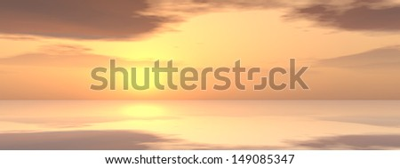 3D illustration of a concept sunset or sunrise background with the sun close to horizon metaphor for nature, finish, sadness, romantic, dramatic light evening morning peace atmosphere weather sunshine