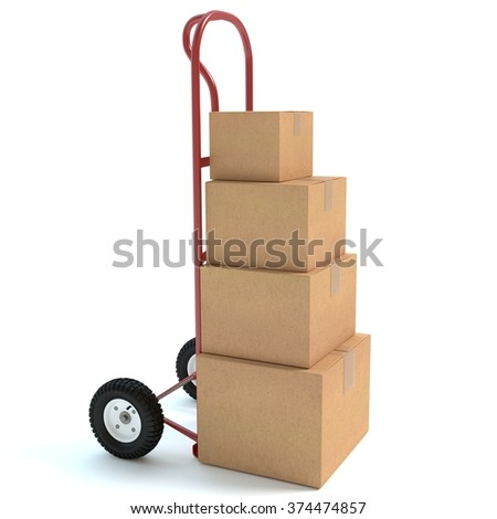 3d illustration of a hand truck with boxes.