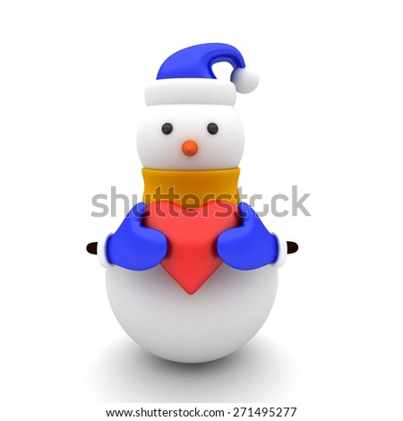 3d illustration of a snowman with yellow scarf and red heart