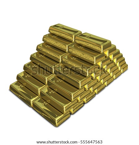 3D Illustration of a Stack of of Gold Bullion