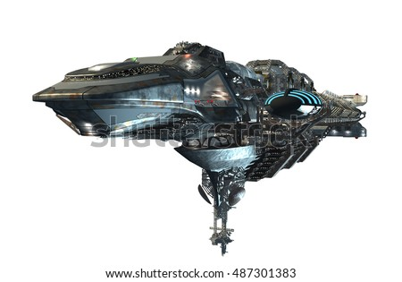 3d illustration of an intergalactic spacecraft for futuristic deep space travel or science fiction backgrounds, with the clipping path, included in the file
