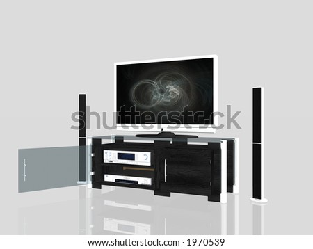 3D illustration of an media center, plasma screen, receiver amplifier, dvd player, audio furniture. Clipping path.
