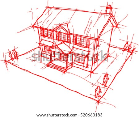 3d illustration of architectural sketch or hand drawing of classic colonial house