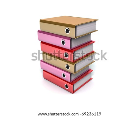 3d illustration of archive folders stack