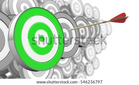 3d illustration of arrow flight with green target over many targets background