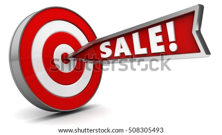 3d illustration of arrow with sign sale hit target