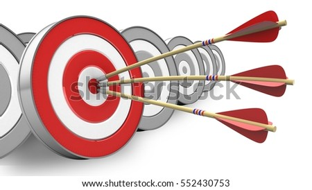 3d illustration of arrows with target over white with targets background
