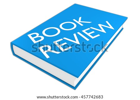 "3D illustration of ""BOOK REVIEW"" script on a book, isolated on white."
