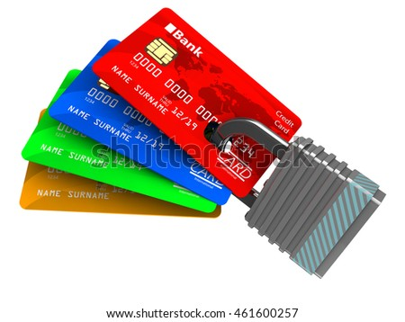 3d illustration of cards and lock isolated over white