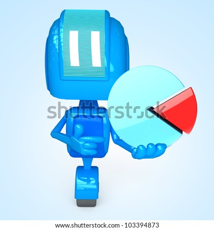 3D illustration of character with objects for use in presentations, manuals, design, etc.