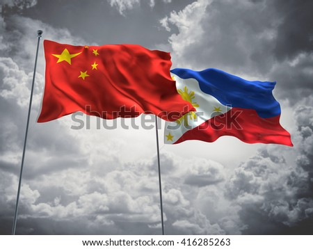 3D illustration of China & Philippines Flags are waving in the sky with dark clouds