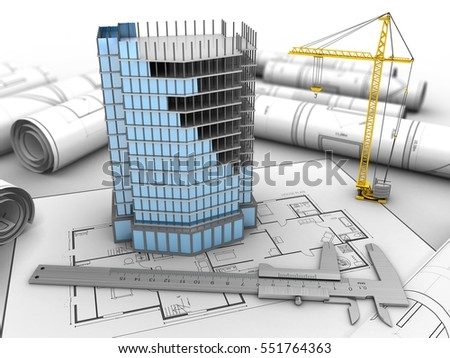 3d Illustration City Building Over Drawings Stock Illustration