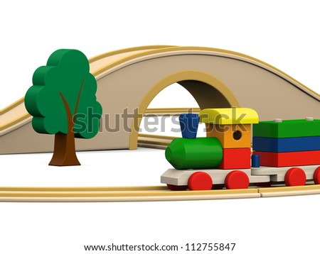 3D illustration of colorful wooden toy train with track, tunnel and bridge