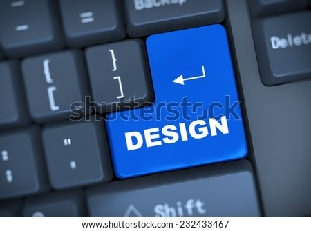 3d illustration of computer keyboard enter button with word design