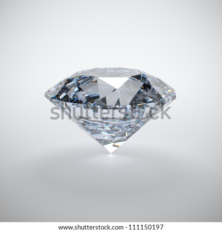 3D illustration of diamond isolated on white background