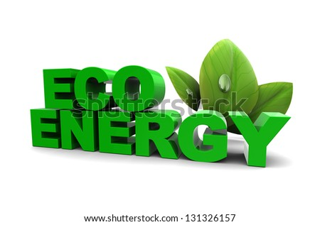 3d illustration of eco energy sign with green leaf