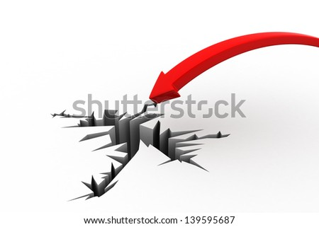 3d illustration of falling arrow with breaking in floor