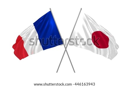 3d illustration of France and Japan flags together waving in the wind