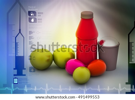3d illustration of Fruits and juice