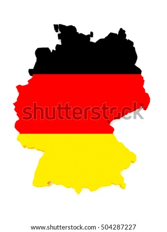 3d Illustration of Germany Map With German Flag Isolated On White Background