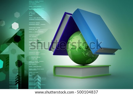3d illustration of Globe and book