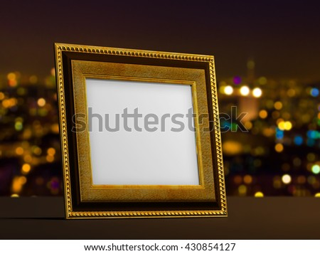 3d illustration of gold empty classic frame with blur background
