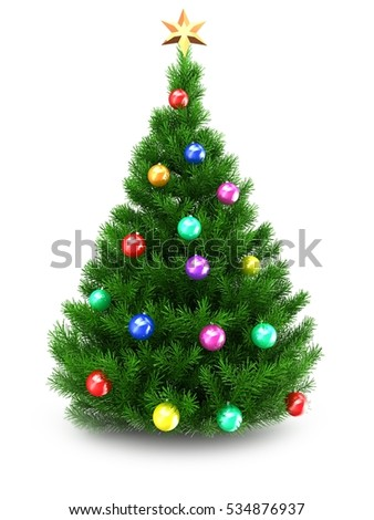 3d illustration of green Christmas tree over white background with golden star and colorful balls