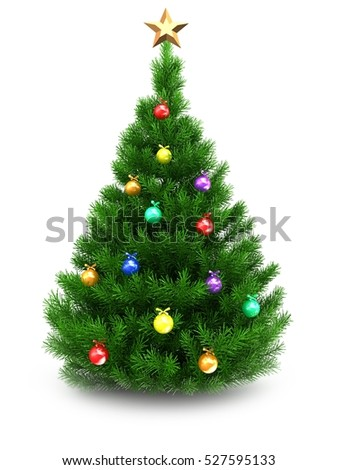 3d illustration of green Christmas tree over white background with star and glass balls