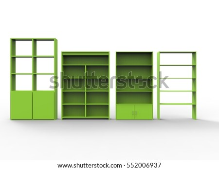 3d illustration of green shelves. white background isolated. icon for game web.