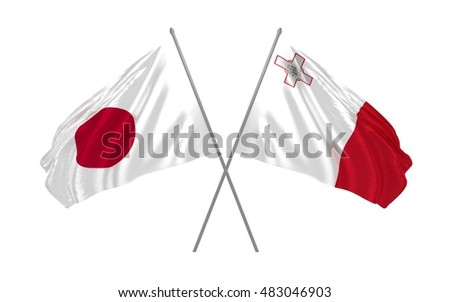 3d illustration of Japan and Malta flags waving