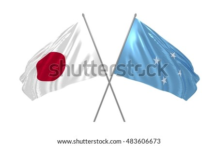 3d illustration of Japan and Micronesia flags waving