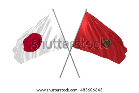 3d illustration of Japan and Morocco flags waving