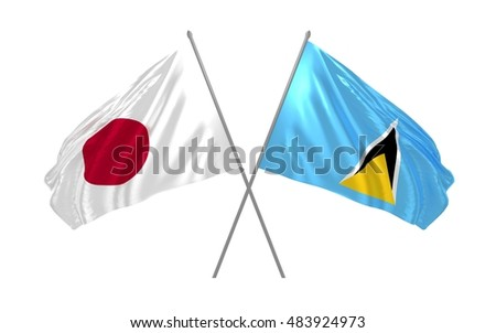 3d illustration of Japan and Saint Lucia flags waving