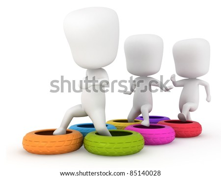 3D Illustration of Kids Clearing an Obstacle Course