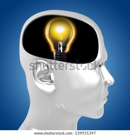 3d illustration of lamp inside man head over blue background