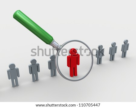 3d illustration of leader magnifying glass over red unique man