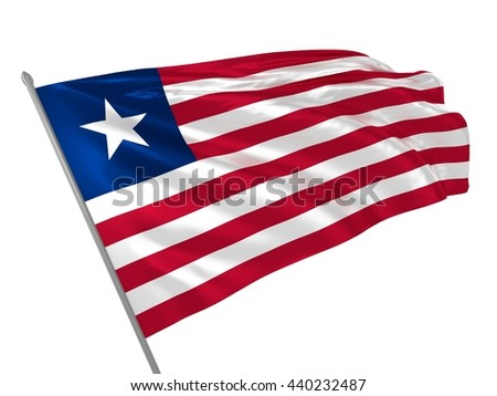3d illustration of Liberia flag waving in the wind