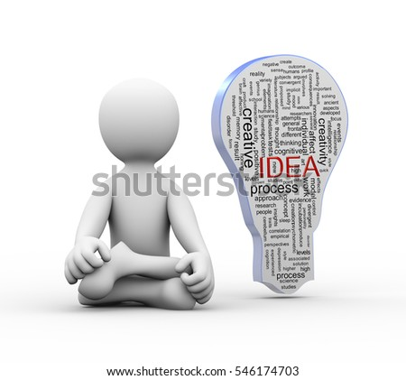 3d illustration of man in yoga position with idea bulb wordcloud word tags.  3d rendering of people - human character.