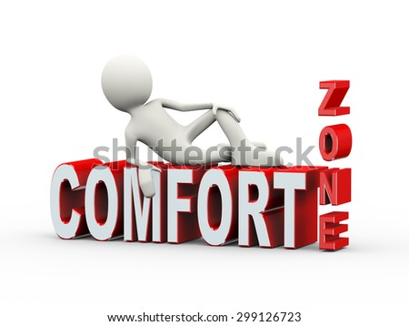 3d illustration of man lying on word text comfort zone. 3d human person character and white people